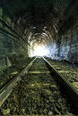 Light at the end of railroad tunnel as success life Stock Photo