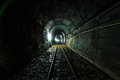 Light at the end of railroad tunnel as success life Stock Images