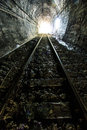 Light at the end of railroad tunnel as success life Royalty Free Stock Photos