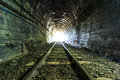 Light at the end of railroad tunnel as success life Royalty Free Stock Image