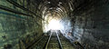 Light at the end of railroad tunnel as success life Stock Photos