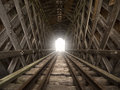 Light at the end of the tunnel railroad covered bridge with metaphor Royalty Free Stock Photos