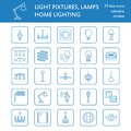 Light fixture, lamps flat line icons. Home and outdoor lighting equipment - chandelier, wall sconce, desk lamp, light Royalty Free Stock Photo