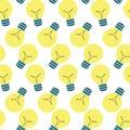 Light flat lamp idea symbol. Seamless pattern. Vector flat design bulb Royalty Free Stock Photo