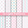 Light floral romantic vector seamless patterns tiling shabby chic pink and blue colors endless texture can be used for printing Royalty Free Stock Photography