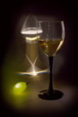 Light, glass and grape (black key still life) Stock Photography