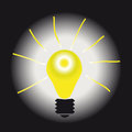 Light on the gradient background burning bulb with rays a Royalty Free Stock Photography