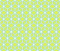 Light green cubes with blue border cubical contour abstract geometrical seamless pattern background Royalty Free Stock Photo