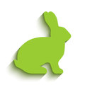 Blank light green flat side silhouette of a rabbit with long shadow isolated on white background. Vector illustration.