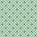 Light green gingham fabric with marijuana background a seamless and repeating leafs Stock Photo