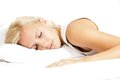 Light hair female model, sleeping on the pillow Royalty Free Stock Photo