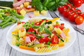 Light healthy colorful salad of italian pasta Royalty Free Stock Photo