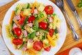 Light healthy italian pasta fusilli salad Royalty Free Stock Photo