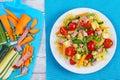 Light healthy salad of italian pasta Royalty Free Stock Photo