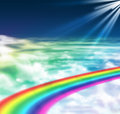 Light of hope and peace rainbow way in cloudy sky is created in photoshop the theme is god is calling us he is created the way for Royalty Free Stock Photos