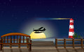 A light house an airplane and a sea illustration of in dark night Royalty Free Stock Photos