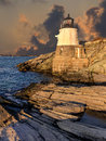 Light house castle hill off the coast of rhode island Stock Images