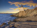 Light house castle hill off the coast of rhode island Stock Photography