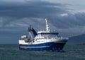 Light house seltjarnarnes harbour fishing vessel iceland near reykjavik Stock Images