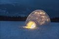 Light in igloo Royalty Free Stock Photo