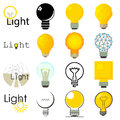Light lamp icons set, cartoon style