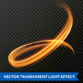 Light line gold swirl effect. Vector glitter light fire flare circle trace Royalty Free Stock Photo