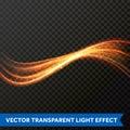 Light line gold swirl effect. Vector glitter light fire flare trace Royalty Free Stock Photo