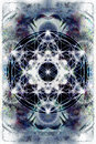Light merkaba and Flower of life on abstract color background. Sacred geometry. Royalty Free Stock Photo