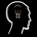 The light is not on concept a bulb symbolizing intellectual innovation and inspiration in a human head Royalty Free Stock Photo