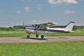 Light plane landing Royalty Free Stock Photo