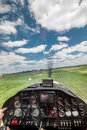 Light plane landing Royalty Free Stock Photo