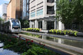 Light rail train in downtown Houston Stock Photography