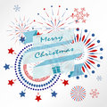 Light red blue firework on christmas holiday with ribbon banner Royalty Free Stock Photo