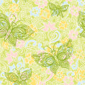 Light seamless pattern with abstract flowers leaves and butterflies bright floral background it can be used for wallpaper Royalty Free Stock Photo