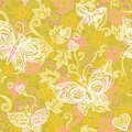 Light seamless pattern with abstract flowers leaves and butterflies bright floral background it can be used for wallpaper Stock Image
