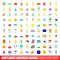 100 light source icons set, cartoon style