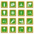 Light source symbols icons set green