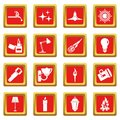 Light source symbols icons set red