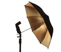 Light stand with flash and umbrella holder over white Royalty Free Stock Photo