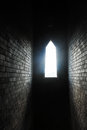 Light of sunshine stream through block wall window and Royalty Free Stock Photography