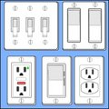Light switches and plug-ins. Royalty Free Stock Photo