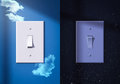 Light switches turned on and off night day Royalty Free Stock Photos