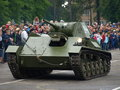 Light tank t in polish colors june military picnic the army training center the city of poznan heavy military vehicles during the Royalty Free Stock Photography