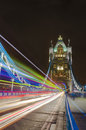 Light Traces on Tower Bridge, London Royalty Free Stock Photo