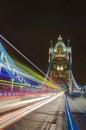 Light Traces on Tower Bridge, London Royalty Free Stock Photo