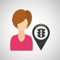 Light traffic pointer map girl design icon Royalty Free Stock Photo