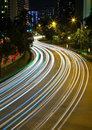 Light trails along Havelock Road in Singapore Royalty Free Stock Photo