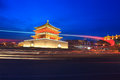 Light trails ancient city night xian china Stock Images