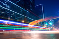 Light trails with blurred colors on the street Royalty Free Stock Photo