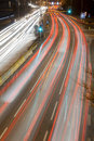Light Trails on Busy Road. Royalty Free Stock Image
